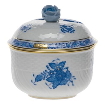 Covered sugar bowl with rose handle 8.5 x 7.8cm