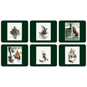 Set of 6 coasters 11 x 9cm