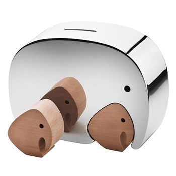 Moneyphant with Twins Money box, oak wood and stainless steel