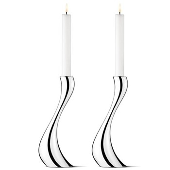 Cobra Pair of candleholders, 24cm, stainless steel
