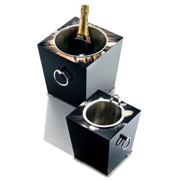 Champagne bucket, 24 x 26cm, horn and black lacquer