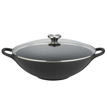 Cast Iron Wok with glass lid, 32cm, satin black