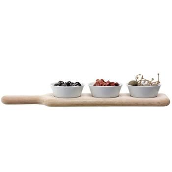 Paddle Bowl set with oak paddle, L40cm, white/oak