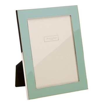 "Enamel Range Photograph frame, 4 x 6"" with 24mm border, ice blue with silver plate"