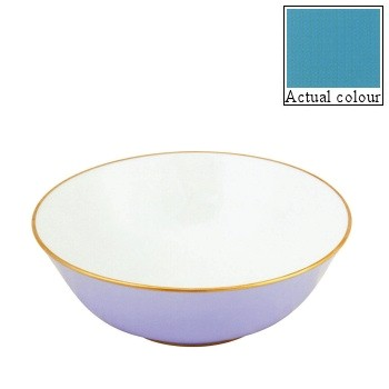 Sous le Soleil Open vegetable dish/salad bowl, 25cm, turquoise with gold band