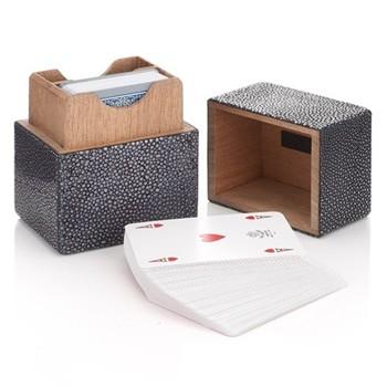 Playing card box, 11 x 9 x 7cm, black real shagreen