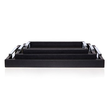 Tray, 44.5 x 34.5cm, black leather with polished handles