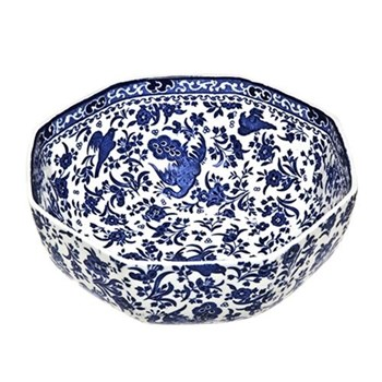 Regal Peacock Octagonal bowl, 20.5cm, blue