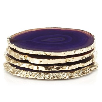 Lumino Set of 4 coasters, approx. D10cm, purple and gold