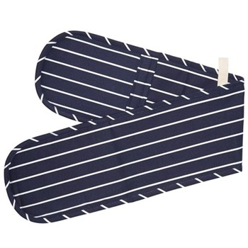 Butcher's Stripe Double oven glove, 19 x 100cm, blue