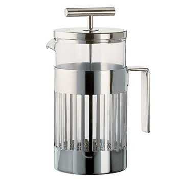Aldo Rossi Press-filter coffee maker, 8 cup, stainless steel and glass