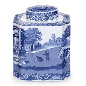 Blue Italian Tea caddy, 14cm