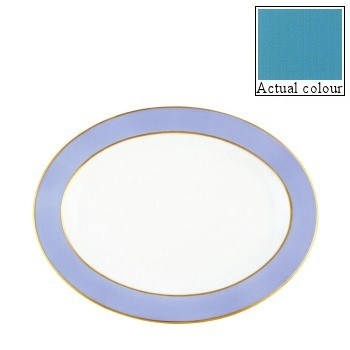 Sous le Soleil Oval platter, 36cm, turquoise with gold band
