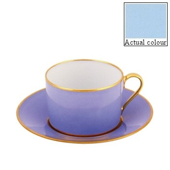 Sous le Soleil Breakfast cup and saucer straight sided, 25cl, opal with gold band