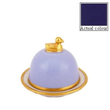 Sous le Soleil Duck butter dish, small, cobalt blue with gold band