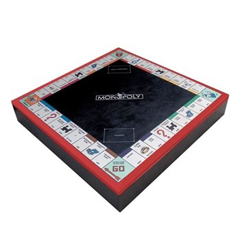 UK edition Monopoly set, 52 x 52 x 8.5cm, red, black and natural leather