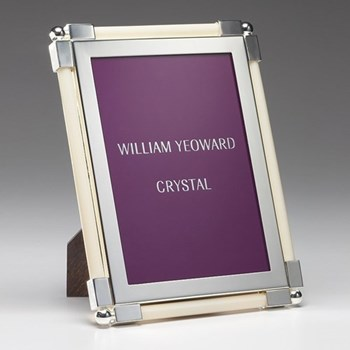 """Classic Photograph frame, 5 x 7"""", silver plate and faux ivory"""