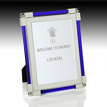 "Classic Photograph frame, 5 x 7"", silver plate and dark blue glass"