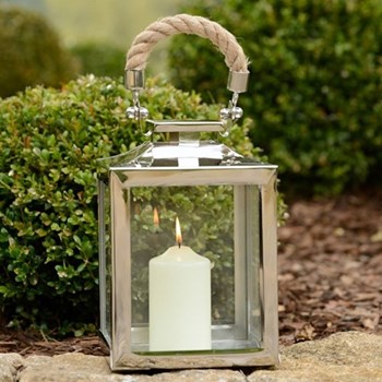 La Rochelle Lantern, 24 x 12 x 12cm, glass, nickel plate and rope