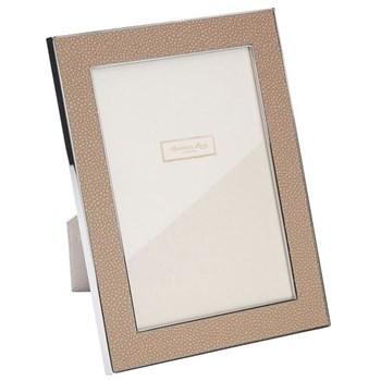"Faux Shagreen Photograph frame, 5 x 7"" with 24mm border, sand with silver plate"