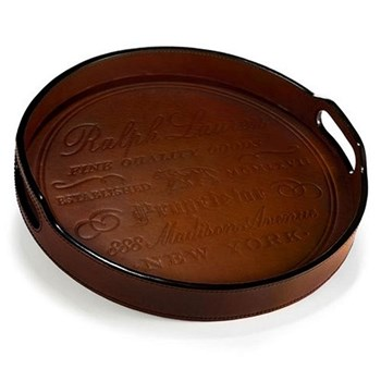 Cantwell Bar tray, 35.6cm, saddle leather