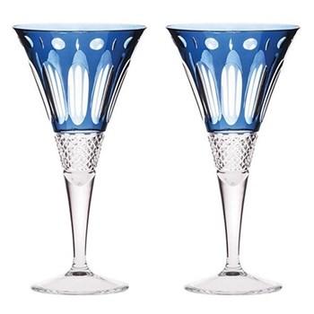 Belgravia Pair of large wine glasses, sapphire blue