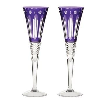 Belgravia Pair of Champagne flutes, amethyst purple