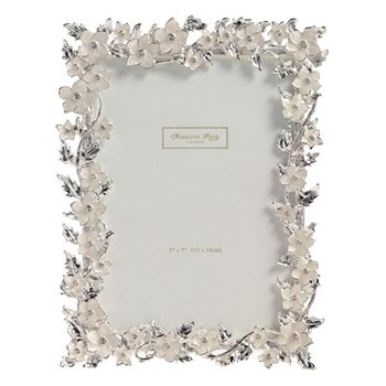 "Silver Leaf and Cream Flower Photograph frame, 5 x 7"", white enamel with silver plate"