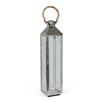 Venetian Lantern, H80 x W18 x D18cm, glass and nickle plate with wooden handle
