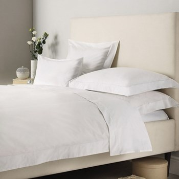 Savoy - 400 Thread Count King size duvet cover, W225 x L220cm, white with white cord