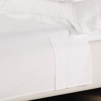 Savoy - 400 Thread Count Super king size flat sheet, W305 x L275cm, white with white cord