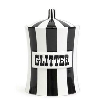 Vice - Glitter Canister, H15.2 x W10cm, black/white