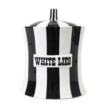Vice - White Lies Canister, H22.2 x 16.5cm, black/white