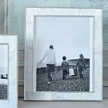 "Mother of Pearl Photograph frame, 8 x 10"", white"