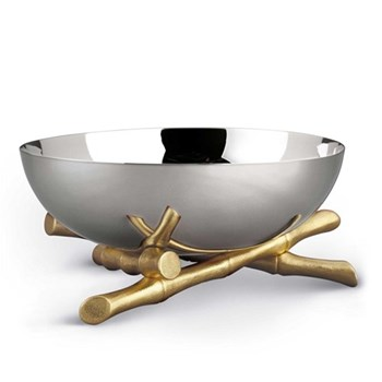 Bambou Bowl, 30cm, gold plate and stainless steel