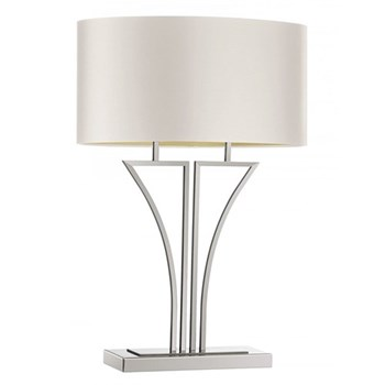 Yves Table lamp, 68cm, polished nickel with premium ivory satin shade with gold PVC lining