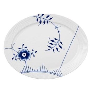 Blue Fluted Mega Oval dish, 33cm