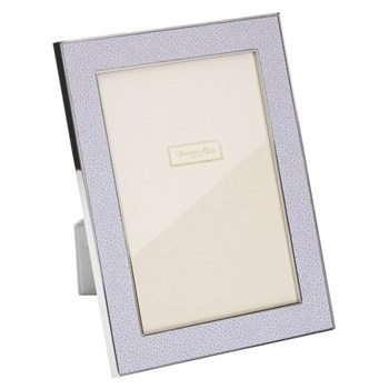"Faux Shagreen Photograph frame, 4 x 6"" with 24mm border, lilac with silver plate"
