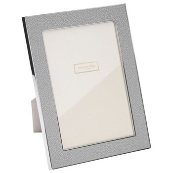 "Faux Shagreen Photograph frame, 4 x 6"" with 24mm border, grey with silver plate"
