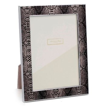 "Faux Snake Skin Photograph frame, 5 x 7"" with 24mm border, natural with silver plate"