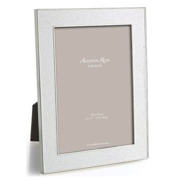 "Faux Snake Skin Photograph frame, 5 x 7"" with 24mm border, white with silver plate"