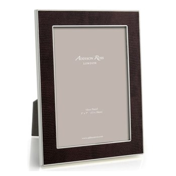 "Faux Snake Skin Photograph frame, 5 x 7"" with 24mm border, coffee with silver plate"