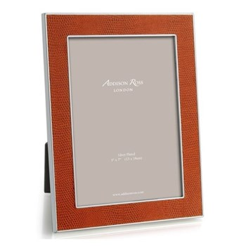 "Faux Snake Skin Photograph frame, 5 x 7"" with 24mm border, burnt orange with silver plate"