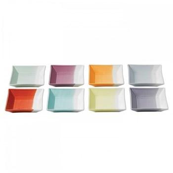 1815 Set of 8 square trays, 12cm, brights