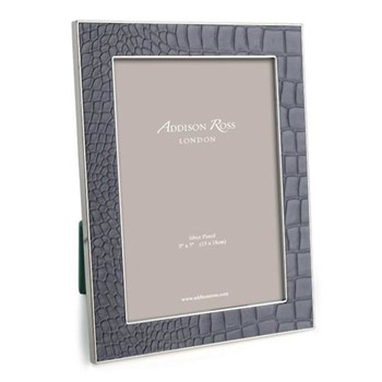 "Faux Croc Photograph frame, 4 x 6"" with 24mm border, dove with silver plate"
