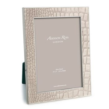 "Faux Croc Photograph frame, 5 x 7"" with 24mm border, cream with silver plate"
