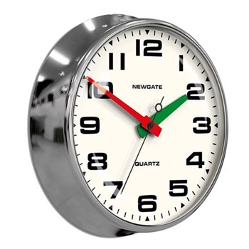 The Brixton Wall clock with silent mechanism, 40 x 11.2cm, chrome