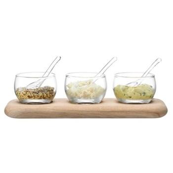 Condiment set and oak base L25.5cm