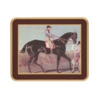 Racehorses - Traditional Range Set of 6 coasters, 11 x 9cm, regal red