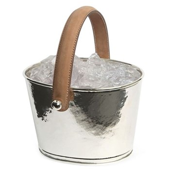Leather Handled Ice bucket, H15 x D23cm, hammered silver plate